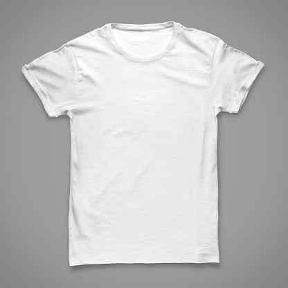 A plain white Tshirt on a grey background