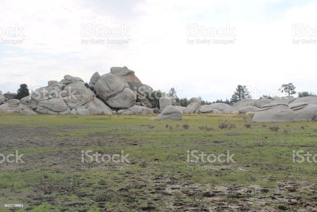 Plain with stones stock photo