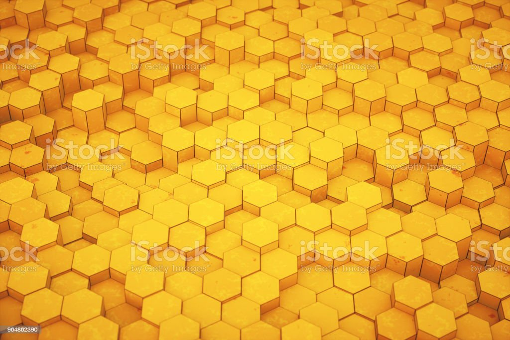 Plain yellow honeycomb structure with spotted texture royalty-free stock photo