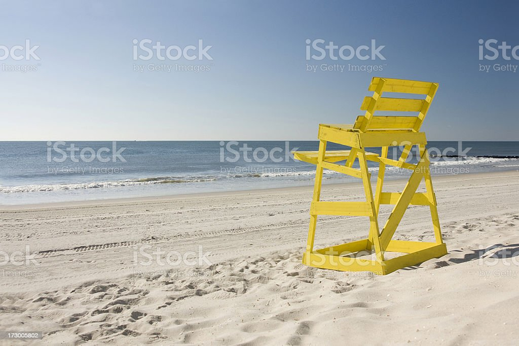 Plain Yellow Lifeguard Chair stock photo