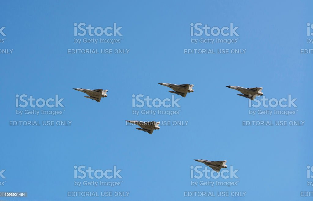 Plains Dassault Rafale With Missiles Under Their Wings Stock Photo
