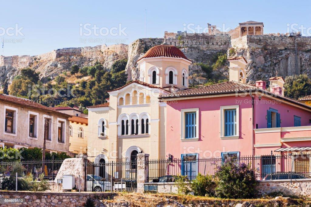 Plaka e a Acrópole, Atenas - foto de acervo