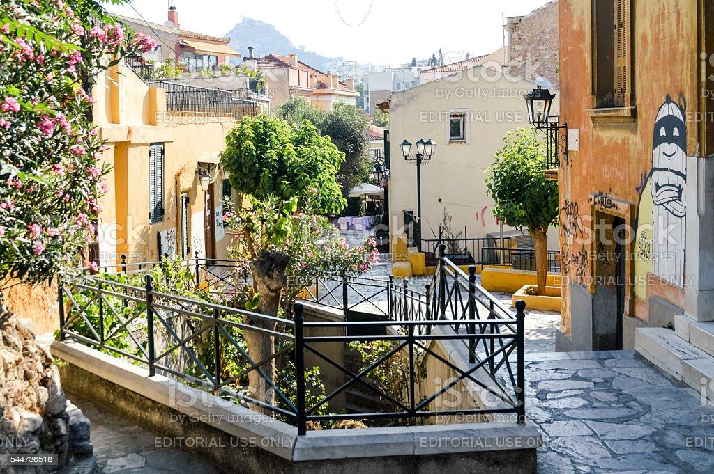 Plaka Neighborhood in Athens, Greece stock photo