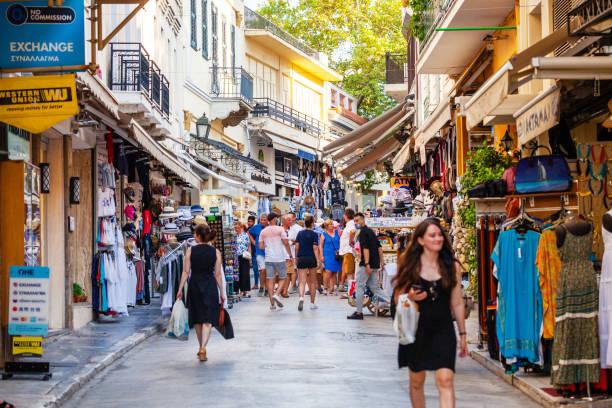 Plaka shopping street - Athens, Greece stock photo