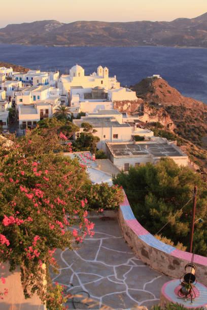 Plaka village seen from the castle, Milos island stock photo
