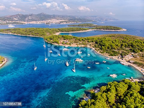 Aerial view of the islands close to Hvar with boats at the water