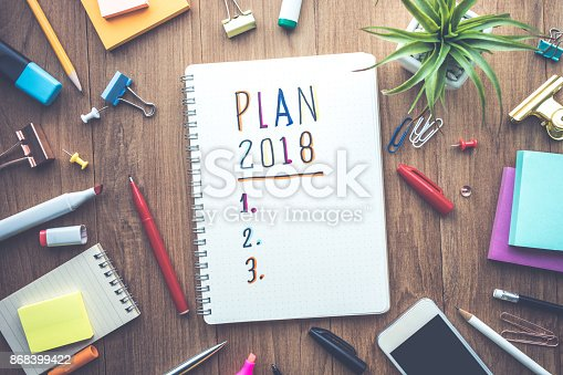 888342518 istock photo Plan 2018 message with notepad paper on wooden table 868399422