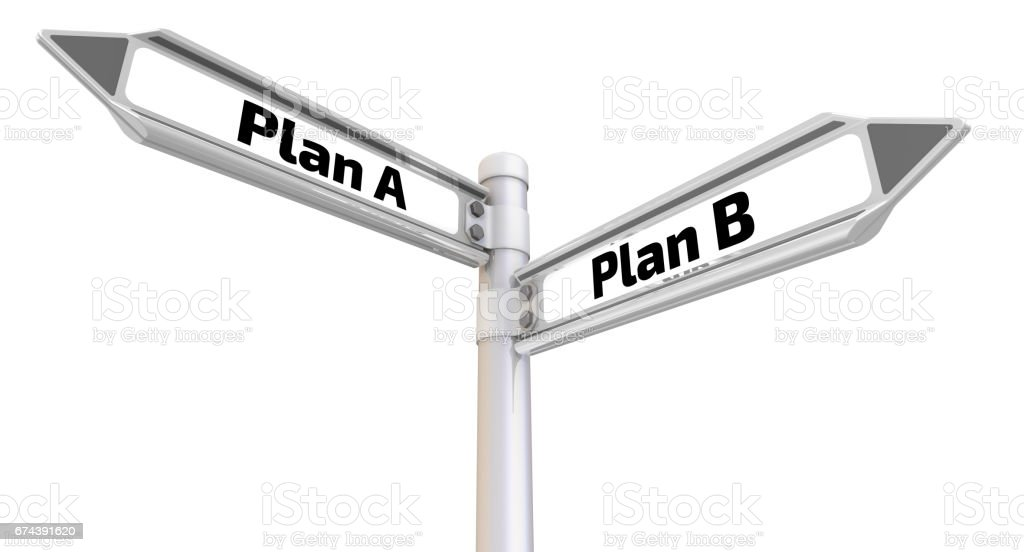 Plan A or Plan B. Road sign stock photo