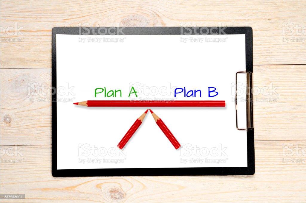 plan a plan b balance concept stock photo