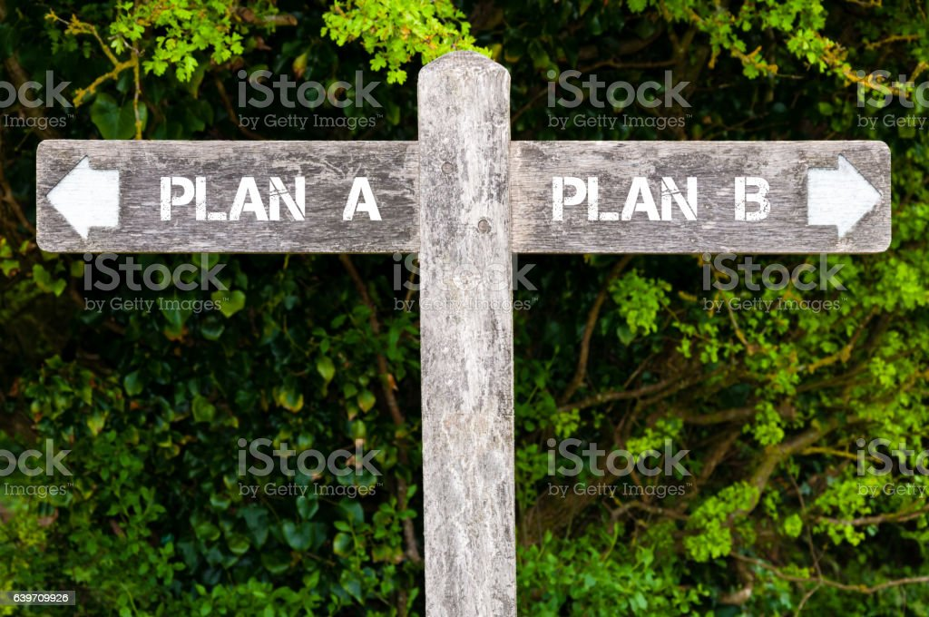Plan A versus Plan B directional signs stock photo
