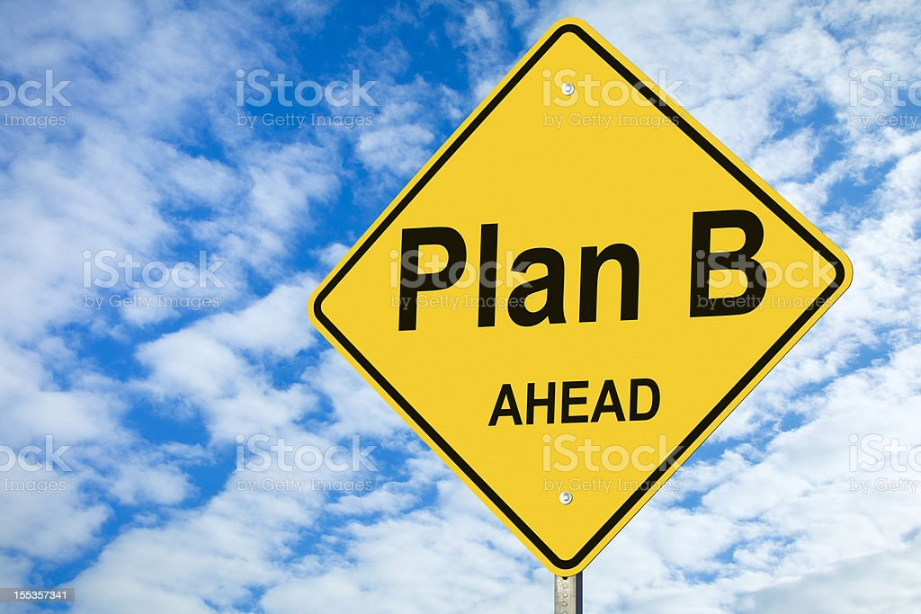 Plan B Ahead Road Sign stock photo