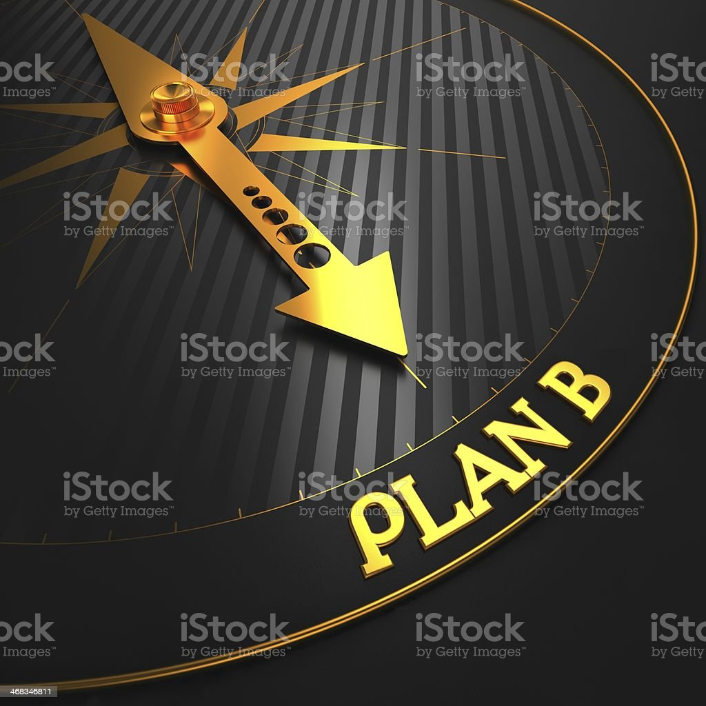 Plan B on Black and Golden Compass. royalty-free stock photo