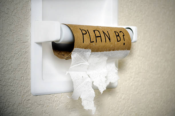 "Plan B? A finished roll of toilet paper with the phrase ""Plan B?"" framed with vignette  toilet paper stock pictures, royalty-free photos & images"