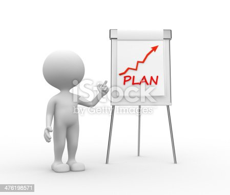 3d people - man, person with flip chart and word PLAN