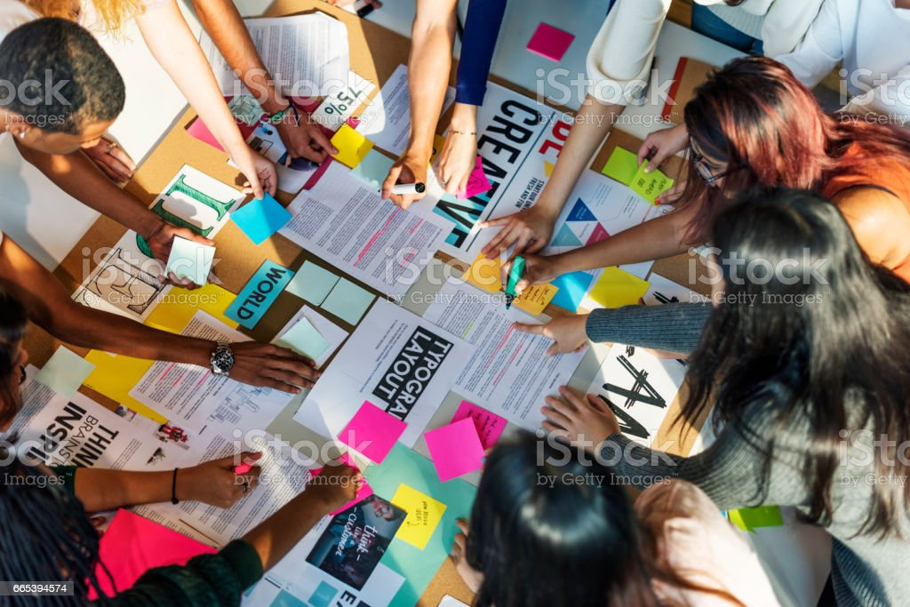 Plan Creative Class Library Student Teacher Ideas Concept stock photo