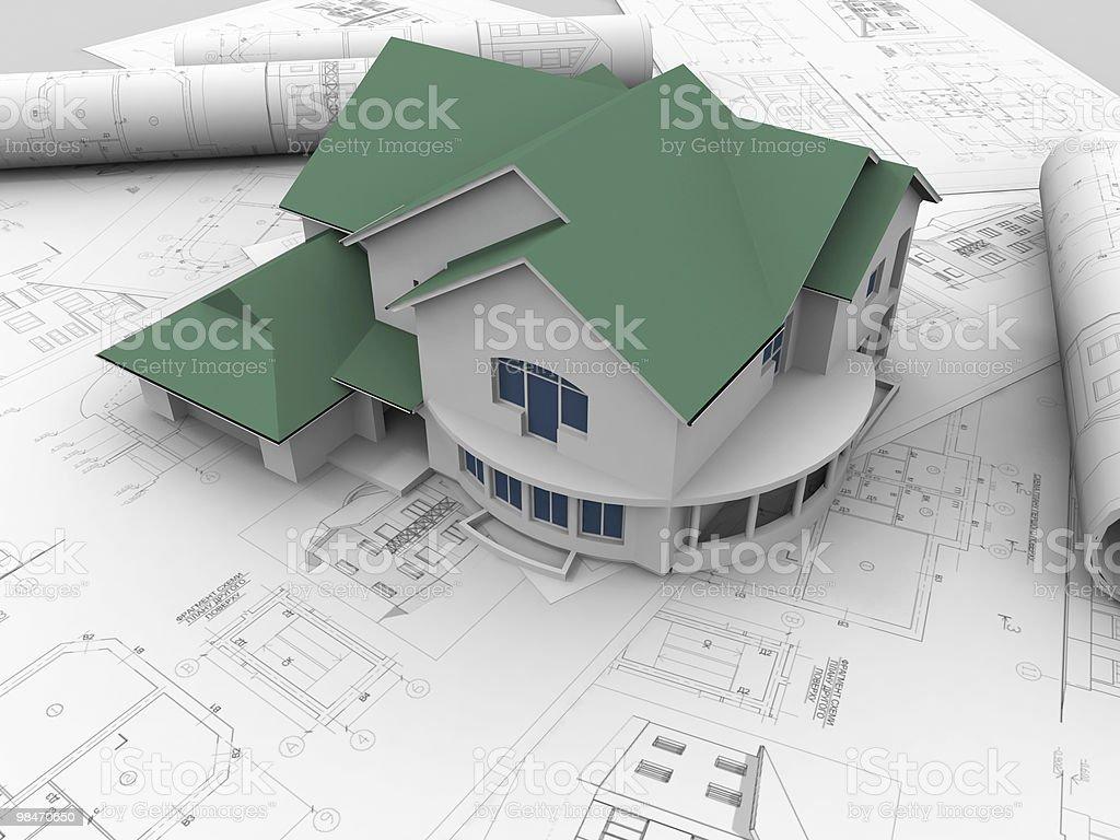 Piano di disegno 3D. foto stock royalty-free