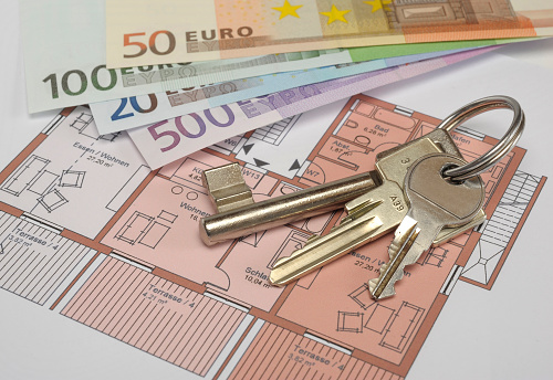istock plan for apartment with keys and Euro money 994415310