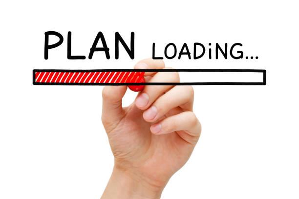 plan loading bar concept - target raumgestaltung stock-fotos und bilder