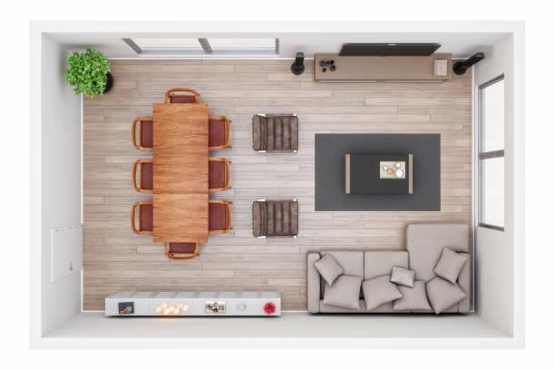3D Plan eines Wohnzimmers aus Draufsicht – Foto