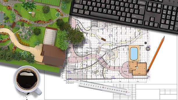 Plan of garden land stock photo