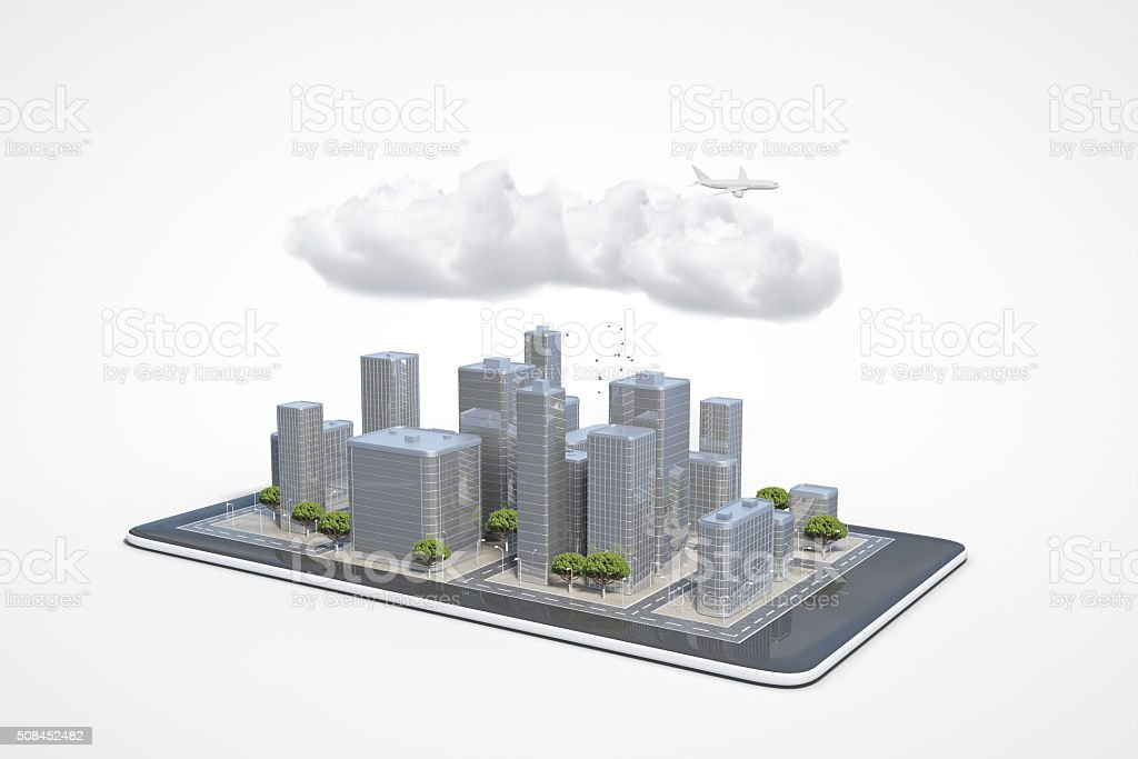 Plan of the urban area in the cell phone stock photo
