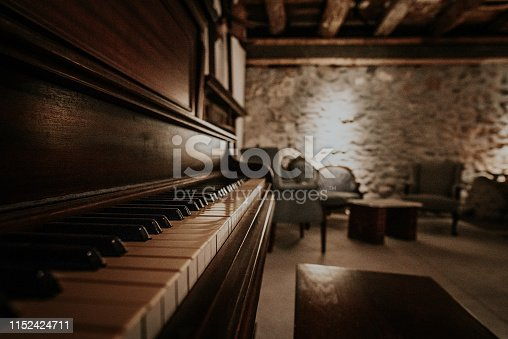 Side photo of piano and antique furniture next to brick wall
