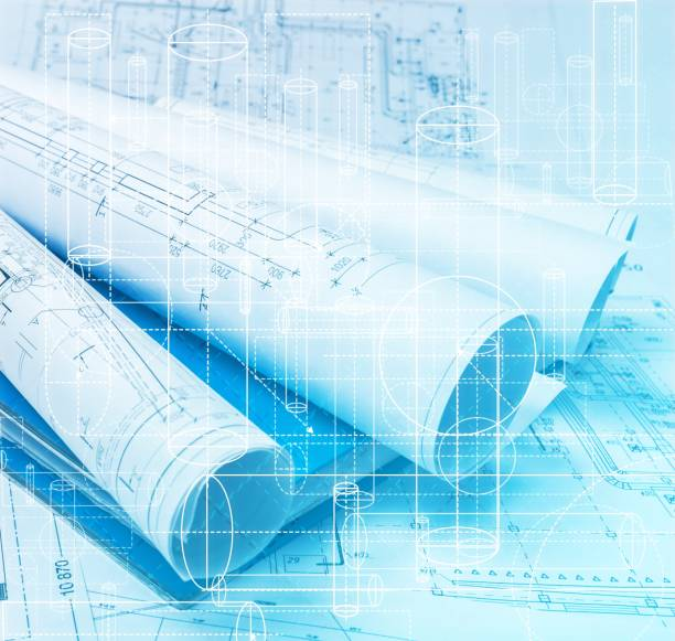 Plan. architectural drawing paper rolls of a dwelling for construction blueprint stock pictures, royalty-free photos & images