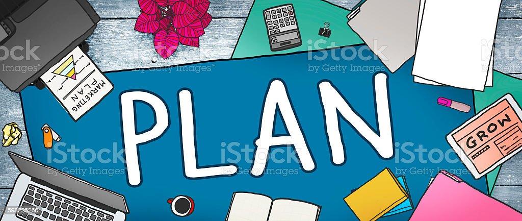 Plano conceito de processo de planejamento de ideias missão foto royalty-free
