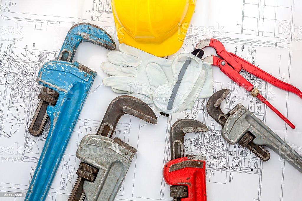 Plan plumber stock photo
