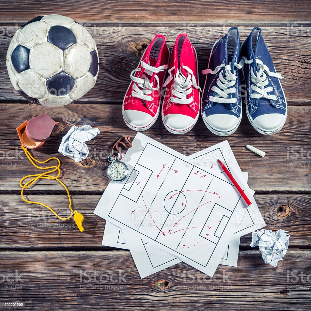Plan to playing football in school stock photo