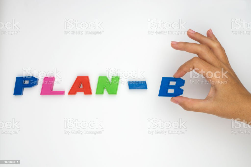 Plan-B, Hand and word royalty-free stock photo