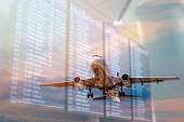 istock Plane and Flight information screens double Exposure Concepts 1307890143