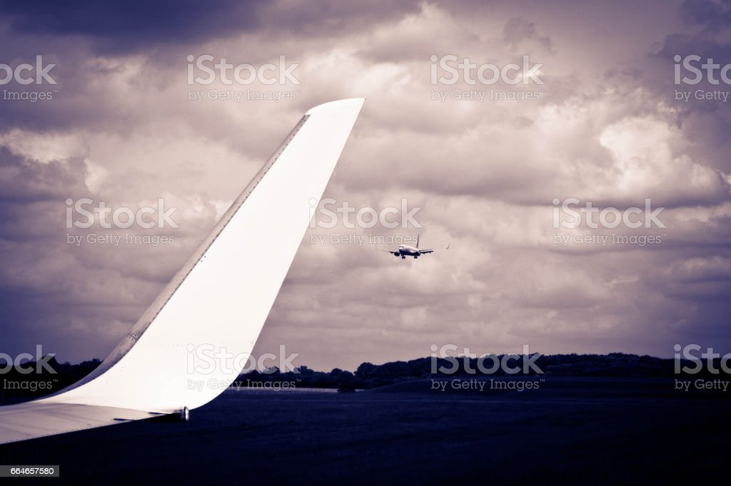 Plane approaching Stansted stock photo