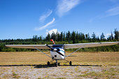 Front view of Cessna 172 airplane standing on grass field with blue cloudy sky on the background.