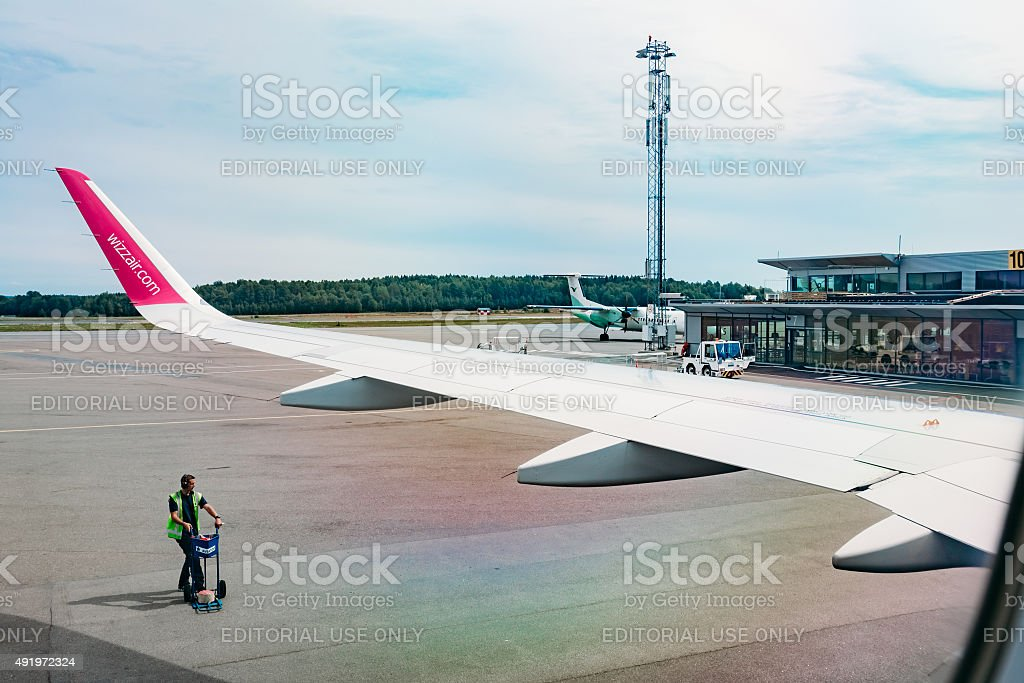Plane at the gate, view from airplane window. Oslo, Norway stock photo