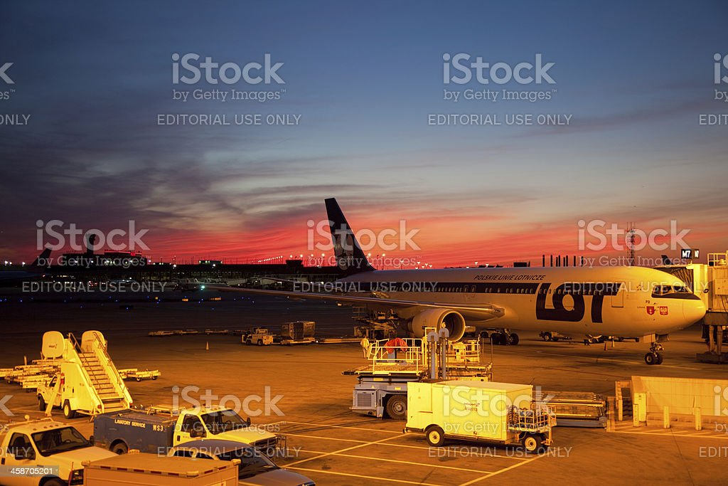 Plane at the O'Hare International Airport stock photo