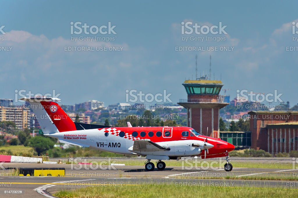 Plane belonging to the Flying Doctor service at Sydney Airport stock photo