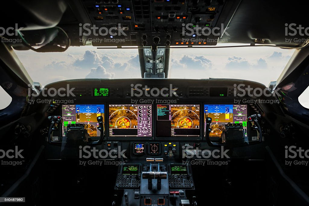 Plane cockpit stock photo