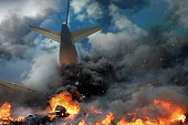 istock Plane crash, plane on fire and smoke. Fear of Air Travel Concept 1197813891