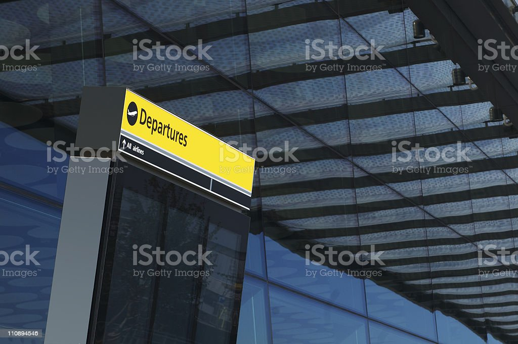 Plane Departures sign stock photo