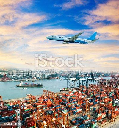 693774520 istock photo Plane flying over the harbor 1093929372