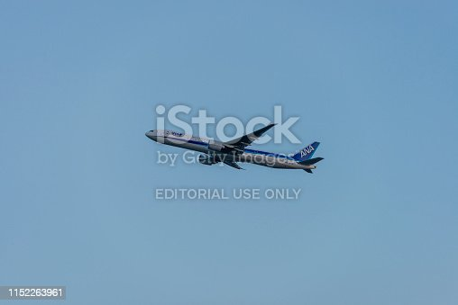Frankfurt, Germany - July 26, 2018: plane from japanese airline ANA is taking off