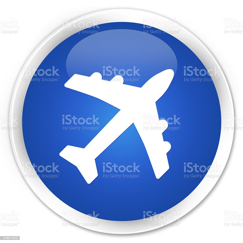 Plane icon blue glossy round button stock photo