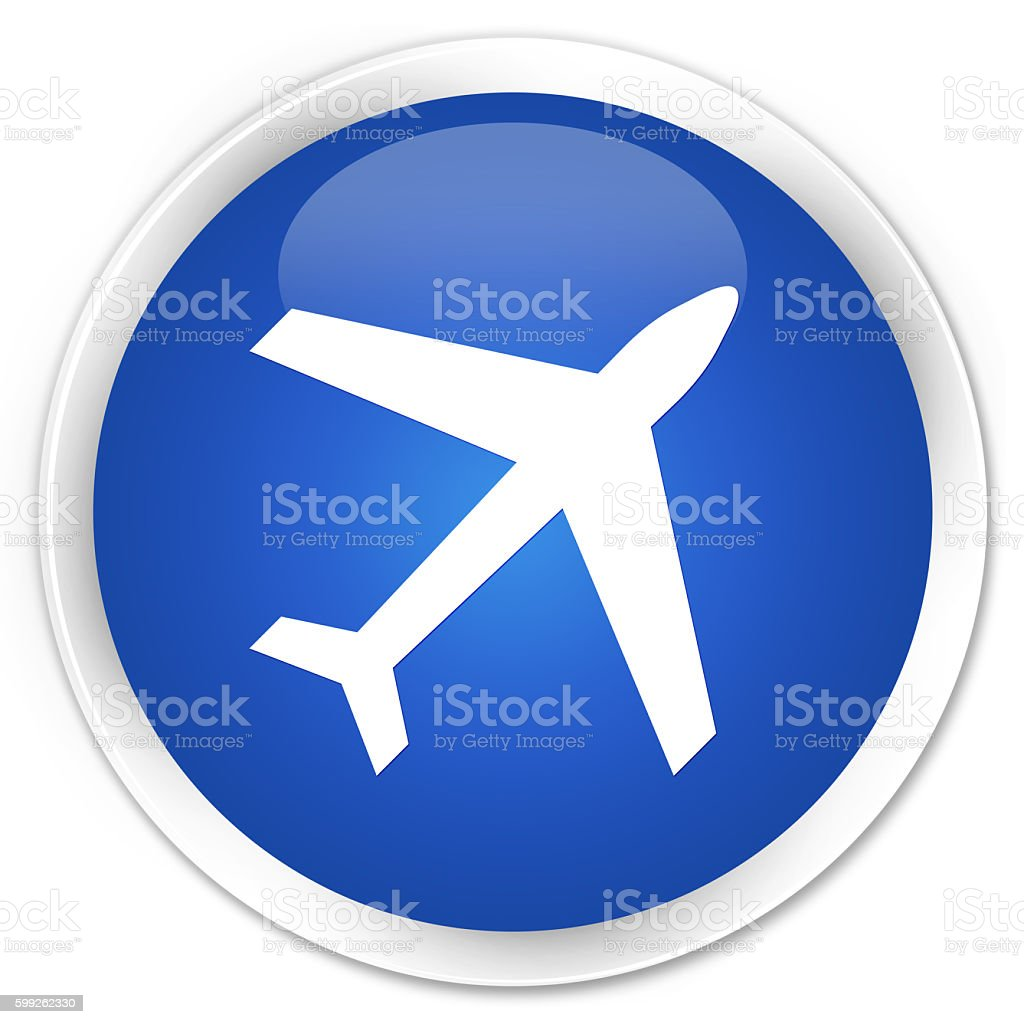 Plane icon blue glossy round button stock photo