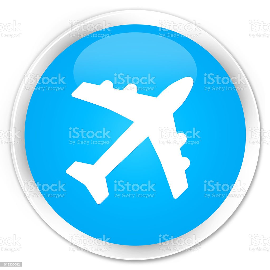 Plane icon cyan blue glossy round button stock photo