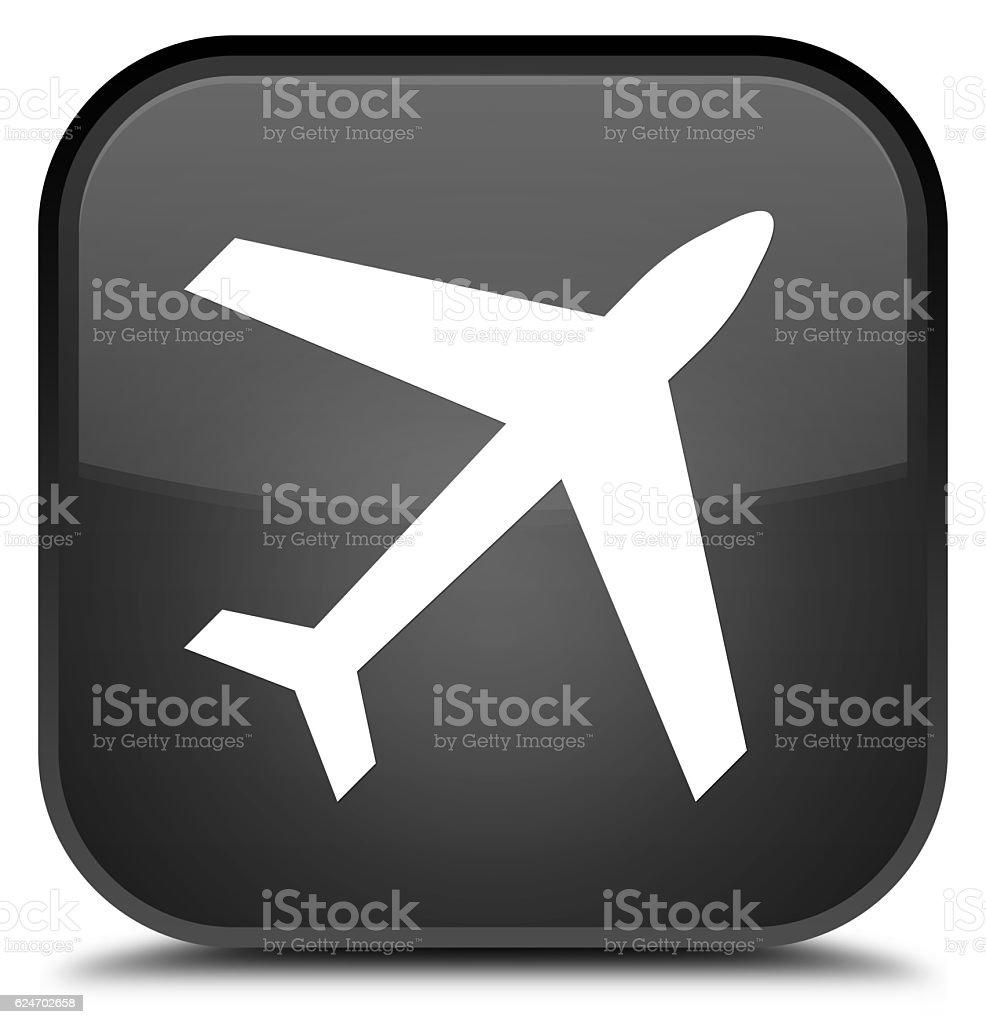 Plane icon special black square button stock photo