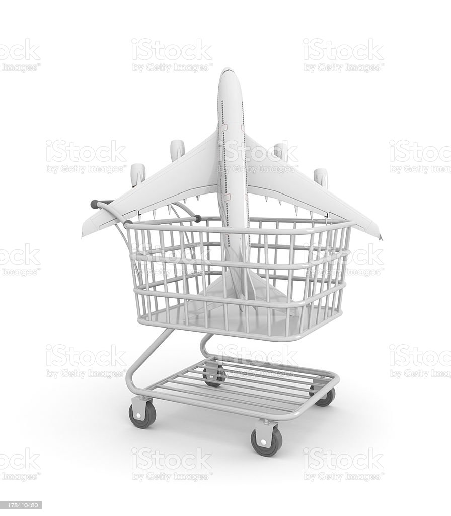 Plane in shopping cart stock photo