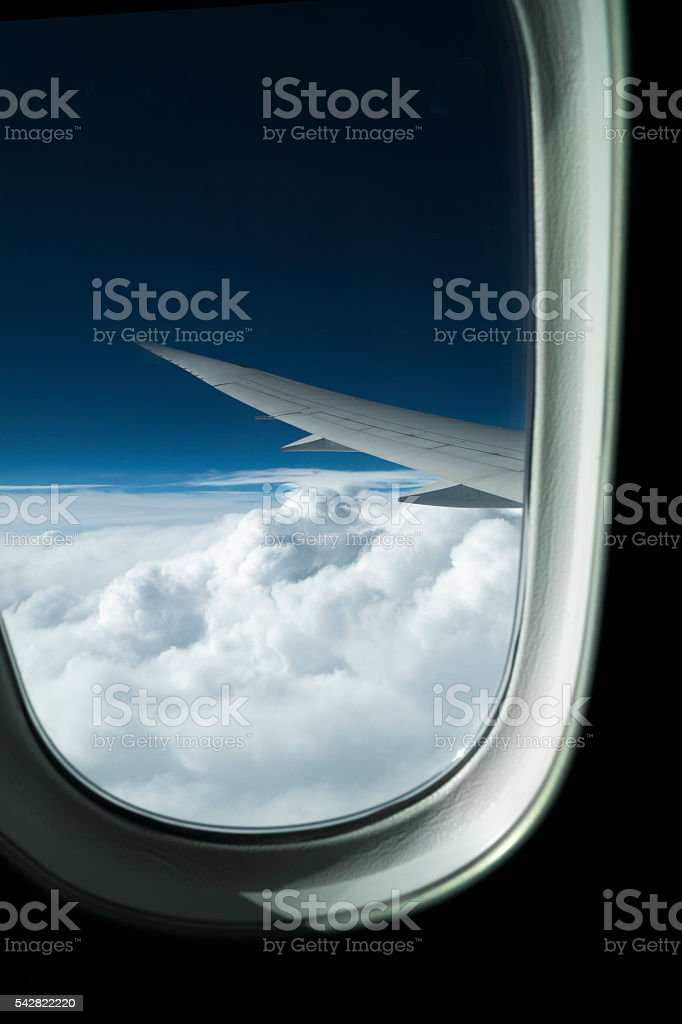 Plane is flying on Istanbul stock photo