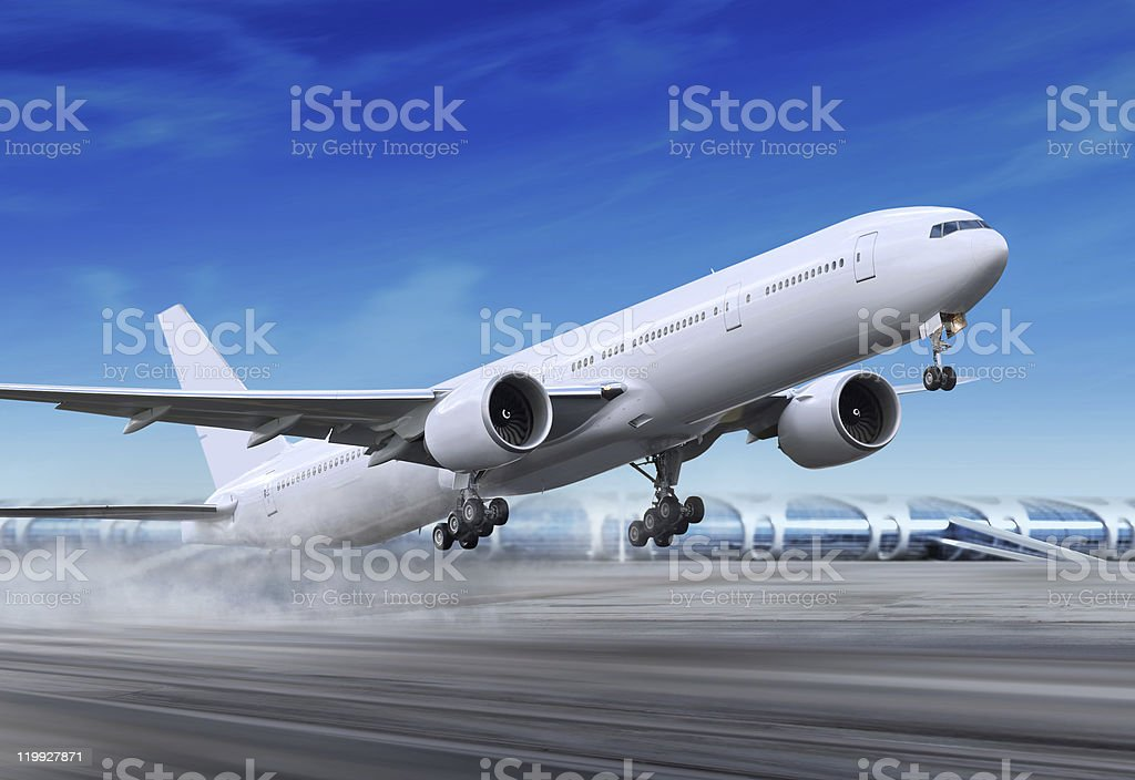 plane is flying-off stock photo