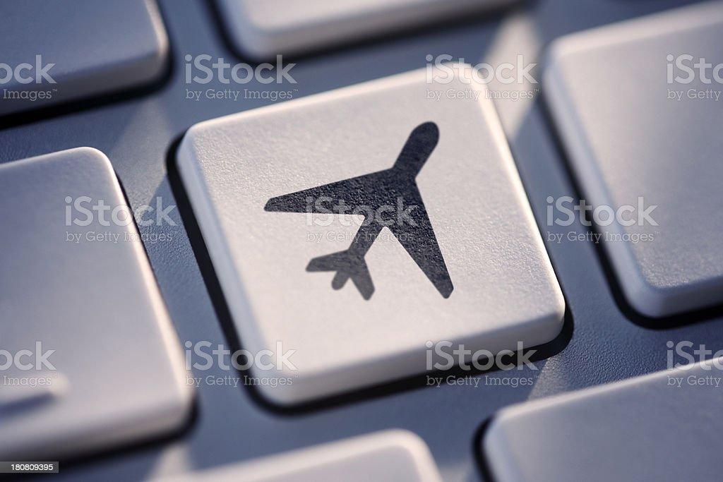 Plane Key On Computer Keyboard royalty-free stock photo